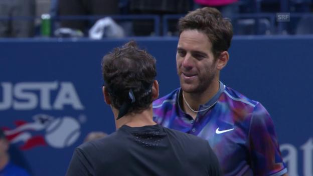 Video «Del Potro stoppt Federer im Viertelfinal» abspielen
