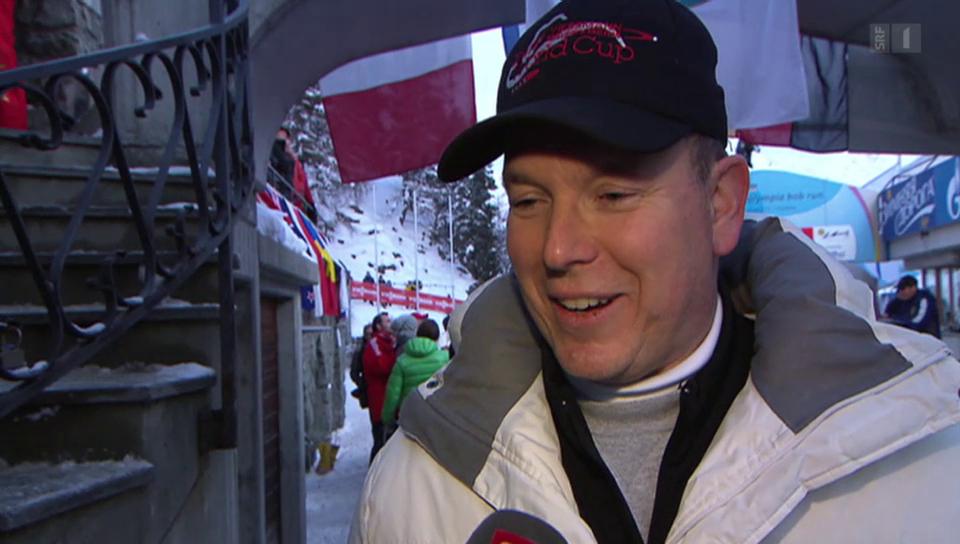 Plauschrennen: Fürst Albert II. als Bobfahrer in St. Moritz