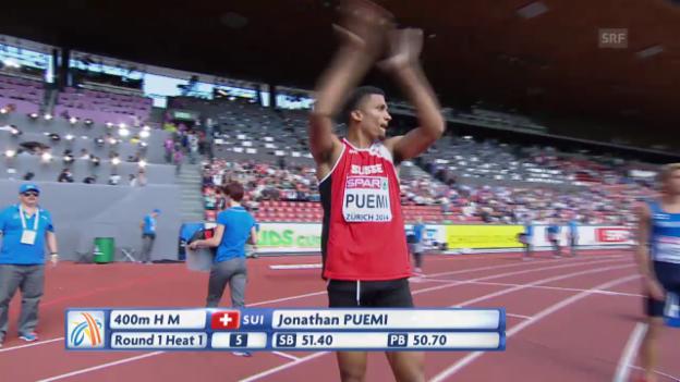 Video «Leichtathletik: Puemi scheitert über 400 m Hürden» abspielen