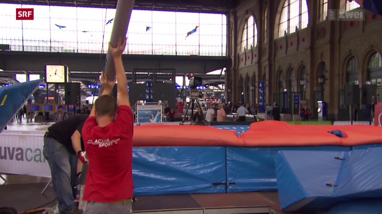 Leichtathletik: Aufbau Stabhochsprung im HB Zürich