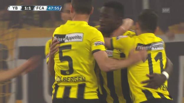 Video «Fussball: Super League, 30. Runde, YB - Aarau, 1:1 Sanogo» abspielen