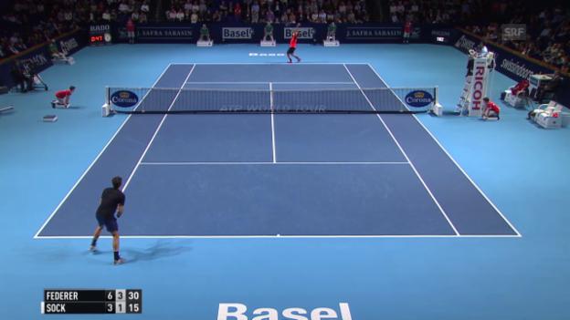 Video «Tennis: Swiss Indoors in Basel, Halbfinal Federer - Sock, Highlights» abspielen