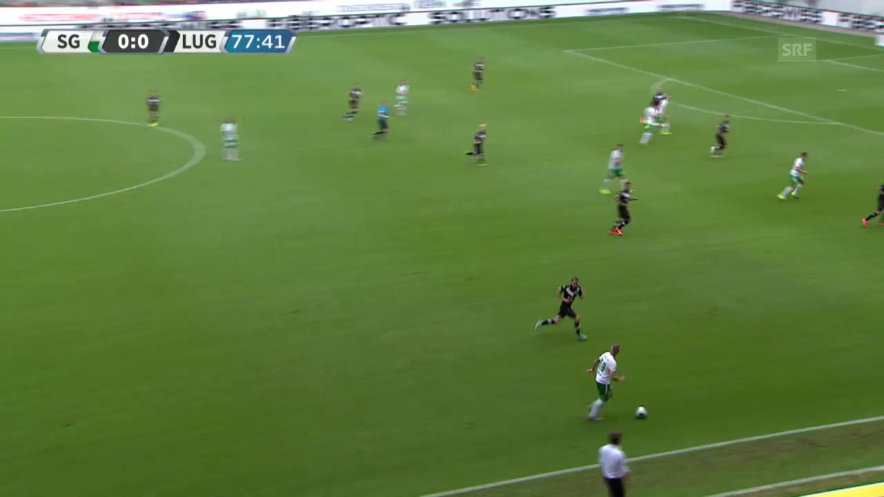 Fussball: Super League, St. Gallen-Lugano, Tor 1 Aleksic