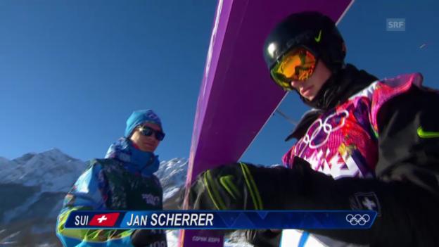 Video «Sotschi: Slopestyle, Erster Halbfinal-Run von Scherrer» abspielen