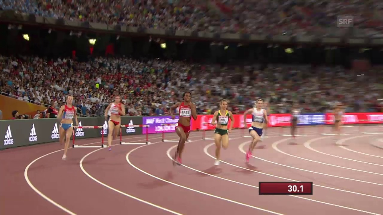 Leichtathletik: WM Peking 2015, Halbfinals 400 m Hürden, Heat mit Lea Sprunger