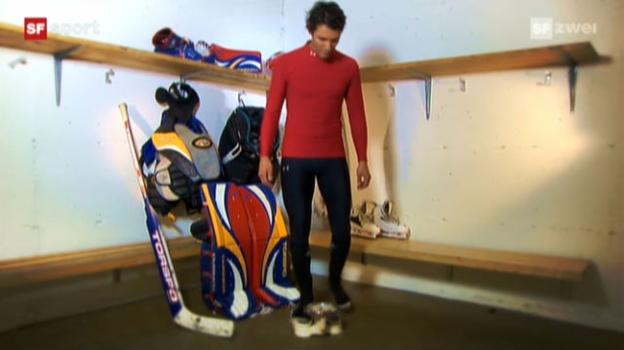 Video «Tscheggsch de Pögg: Wie viel Gewicht bewegt ein Eishockeygoalie auf dem Eis?» abspielen