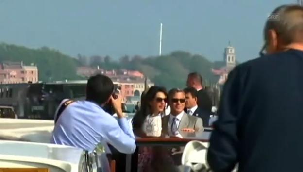 Video «Verliebt in Venedig: Das Ehepaar Clooney zeigt sich erstmals» abspielen