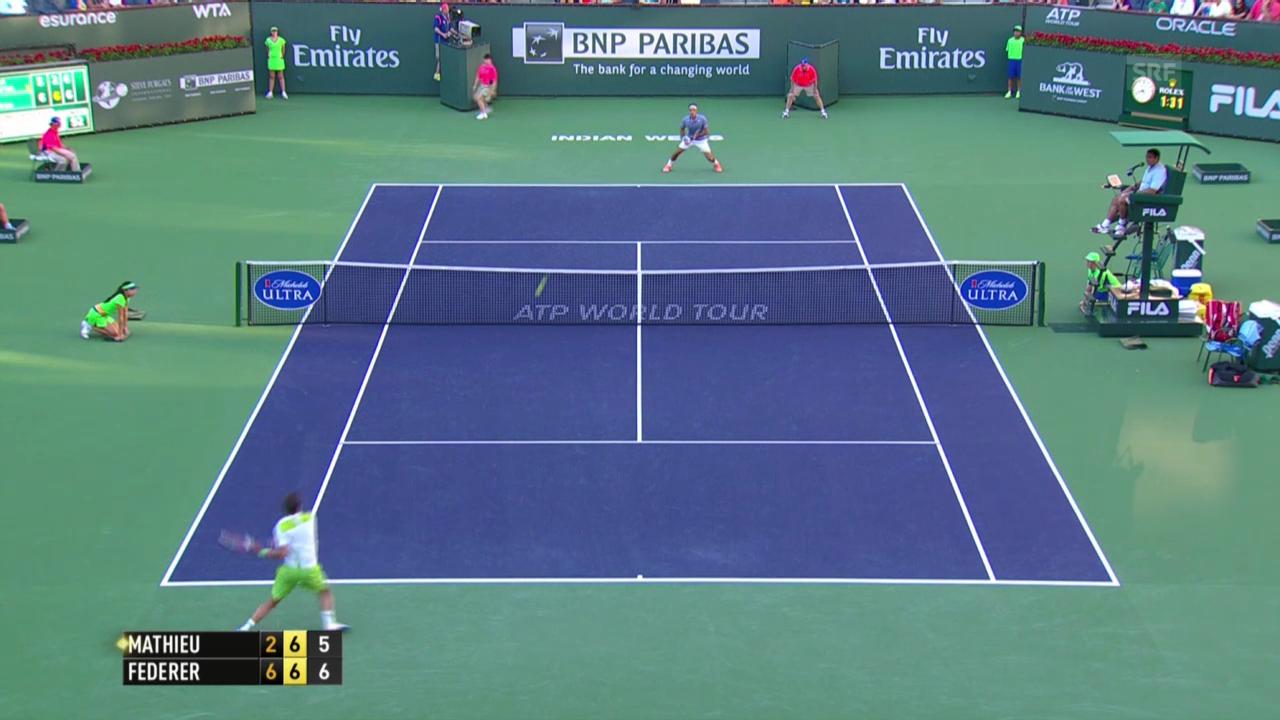 Tennis: Roger Federer - Paul-Henri Mathieu, entscheidende Punkte (unkommentiert, 09.03.2014)