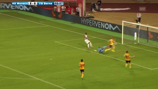 Video «Fussball, CL-Quali, Monaco-YB, 3:0 Martial» abspielen