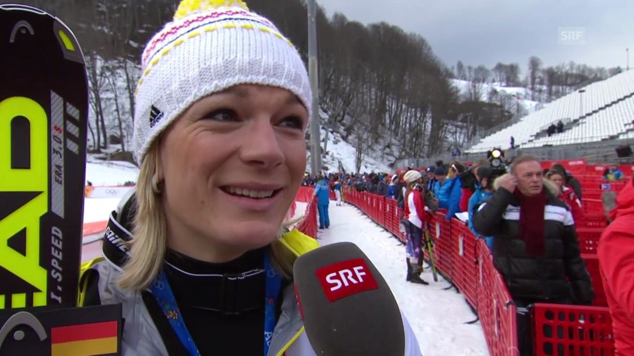Ski: Super-Kombi Frauen, Interview mit Maria Höfl-Riesch (sotschi direkt, 10.2.2014)