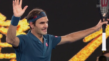 Link öffnet eine Lightbox. Video Federer nach blitzsauberer Leistung im Achtelfinal abspielen