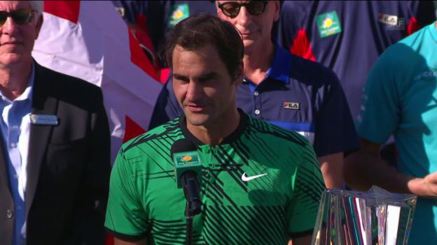 Video «Die Stimmen von Federer und Wawrinka bei der Siegerehrung» abspielen