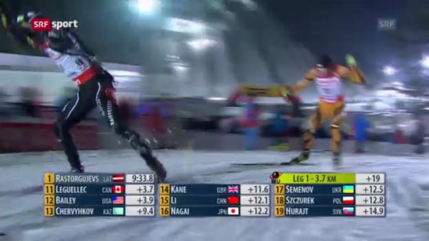 Video «Biathlon: Weltcup Ruhpolding, 4x7,5 km Staffel Männer» abspielen