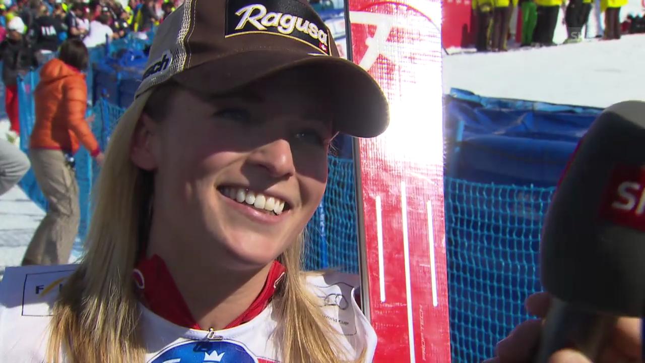 Ski: Lara Gut nach ihrem Abfahrtssieg im Interview («sportlive», 12.3.14)