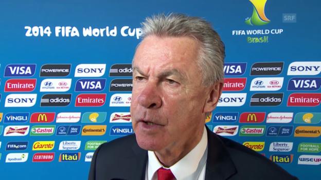 Video «Interview mit Ottmar Hitzfeld vor dem Frankreich-Spiel» abspielen