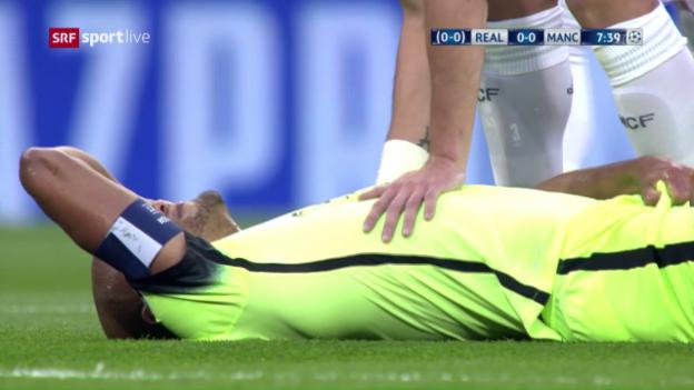 Video «So verletzte sich Vincent Kompany im CL-Rückspiel in Madrid» abspielen