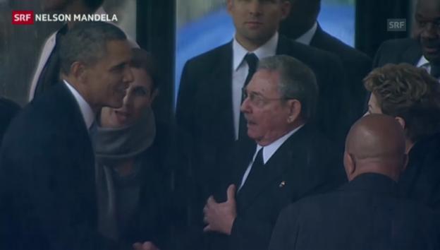 Video «Historischer Handschlag? Barack Obama und Raúl Castro» abspielen