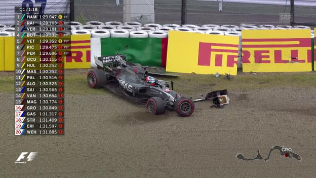 Video «Grosjean crasht im Qualifying» abspielen