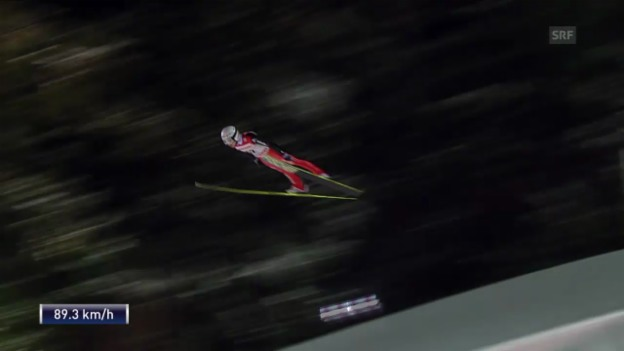 Video «Skispringen: Weltcup in Kuopio, 2. Sprung von Simon Ammann» abspielen