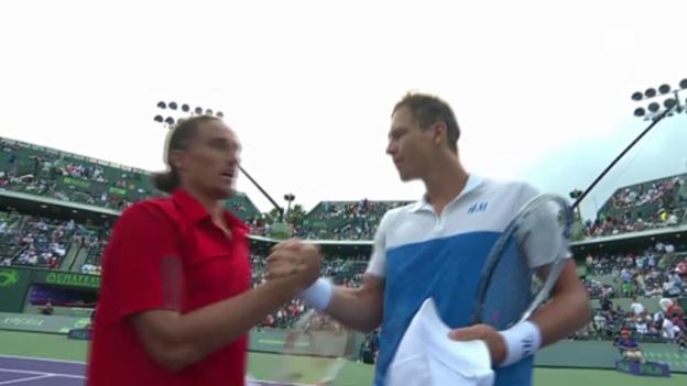 Video «Tennis: ATP Miami, Berdych-Dolgopolow, entscheidende Ballwechsel» abspielen