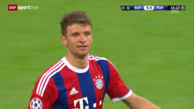 Video «Fussball: Champions League, Viertelfinal, Rückspiel, Bayern - Porto, Thomas Müller trifft zum 4:0» abspielen