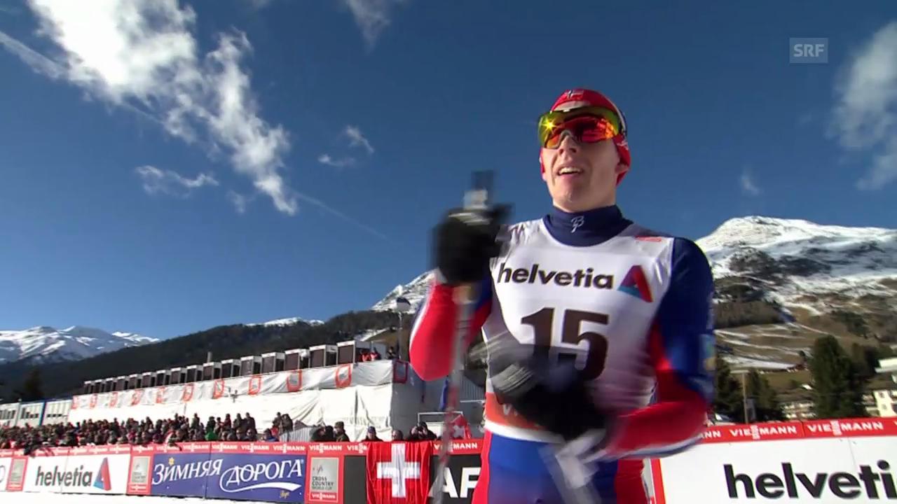 Langlauf: Zieleinlauf von Anders Glöersen in Davos