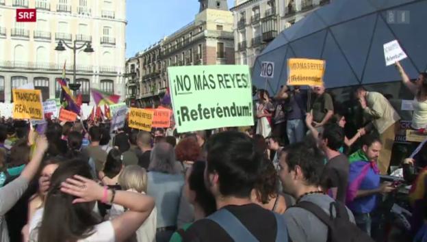 Video «Proteste gegen spanische Monarchie» abspielen