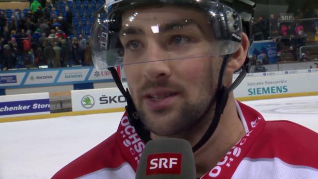 Video «Eishockey: Spengler Cup, Team Canada-Jekaterinburg, Interview mit Cory Conacher» abspielen