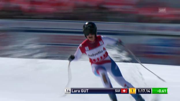 Video «Ski Alpin: Super-G Frauen auf der Lenzerheide, die Siegesfahrt von Lara Gut («sportlive», 13.3.2014)» abspielen