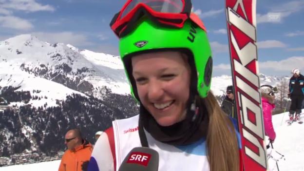 Video «Schweizer Meisterschaften Riesenslalom und Slalom («sportaktuell»)» abspielen