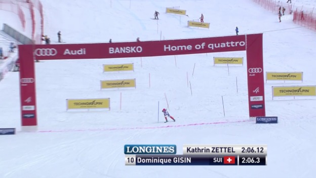 Video «Ski Alpin: Weltcup Bansko, Super-Kombination, Slalom Gisin» abspielen