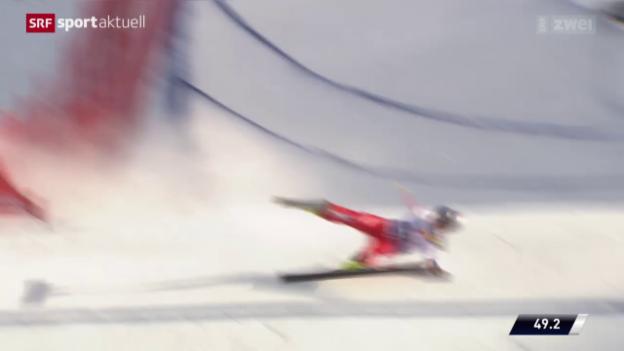 Video «Skicross: Fanny Smith mit Schlüsselbeinbruch» abspielen