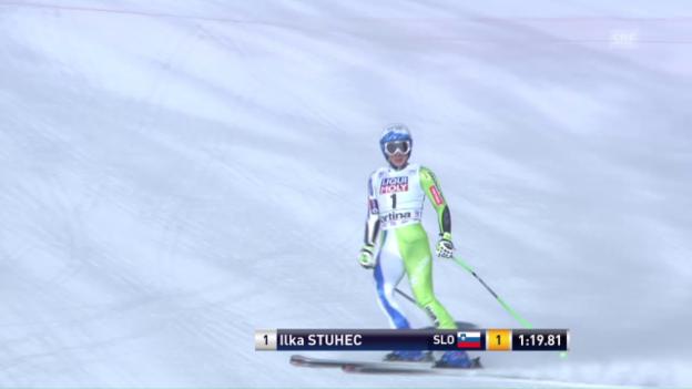 Video «1. Super-G-Sieg: Stuhec rast in Cortina zum Erfolg» abspielen