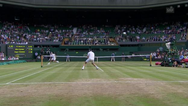 Video «Pfeilschneller Federer erwischt Raonic» abspielen