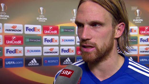 Video «Fussball: Europa League, 3. Spieltag, Basel - Belenenses, Interview mit Michael Lang» abspielen