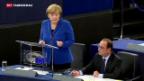 Video «Merkel und Hollande demonstrieren Einigkeit in der Flüchtlingskrise» abspielen