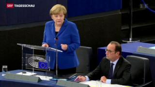 Video «Merkel und Hollande demonstrieren Einigkeit bei Flüchtlingskrise» abspielen
