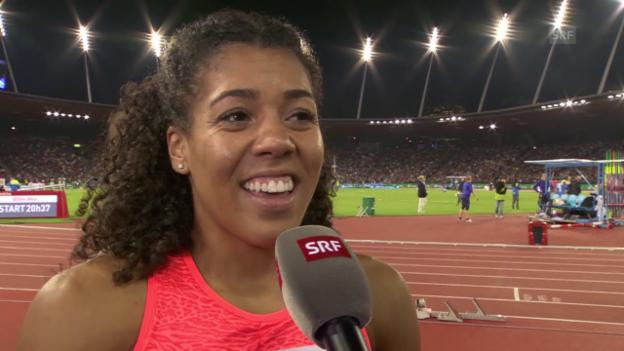 Video «Leichtathletik: Weltklase Zürich, 100 m Frauen, Mujinga Kambundji im Interview» abspielen
