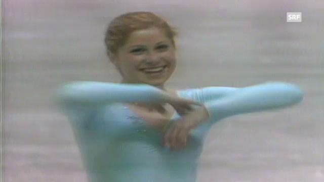 Denise Biellmann bei ihrer Kür an der WM 1981