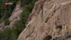 Video «Riskante Sicherungsarbeiten nach Felssturz» abspielen