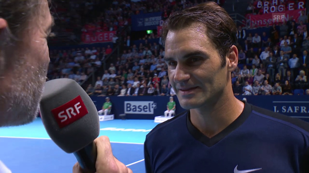Tennis: ATP-Turnier in Basel, 1. Runde, Federer im Platzinterview