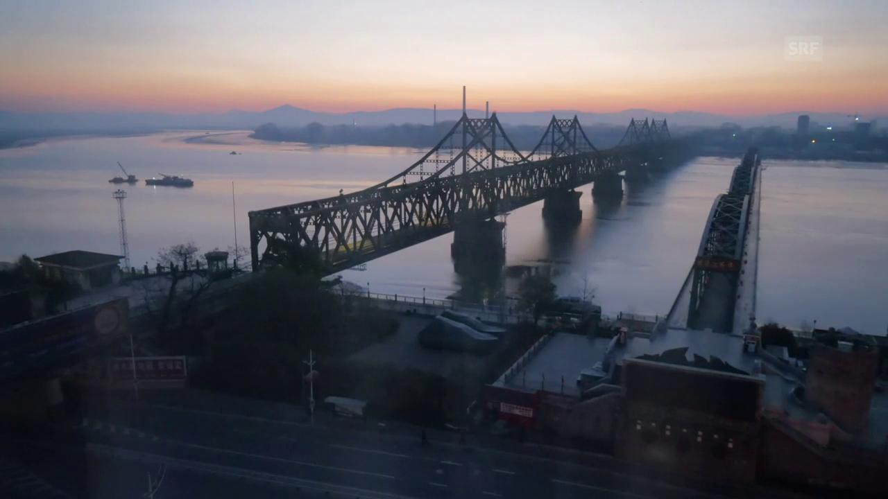 Mittlerweile ist die Brücke in Dandong gesperrt