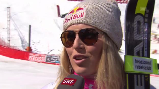 Video «Ski alpin: Weltcup-Finale in Méribel, Frauen-Abfahrt, Lindsey Vonn im Interview» abspielen