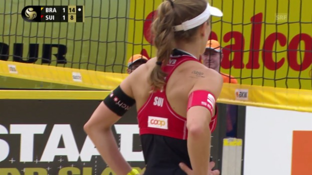 Video «Beachvolley: Grand-Slam-Turnier in Gstaad, Highlights Heidrich/Zumkehr - Juliana/Antonelli» abspielen