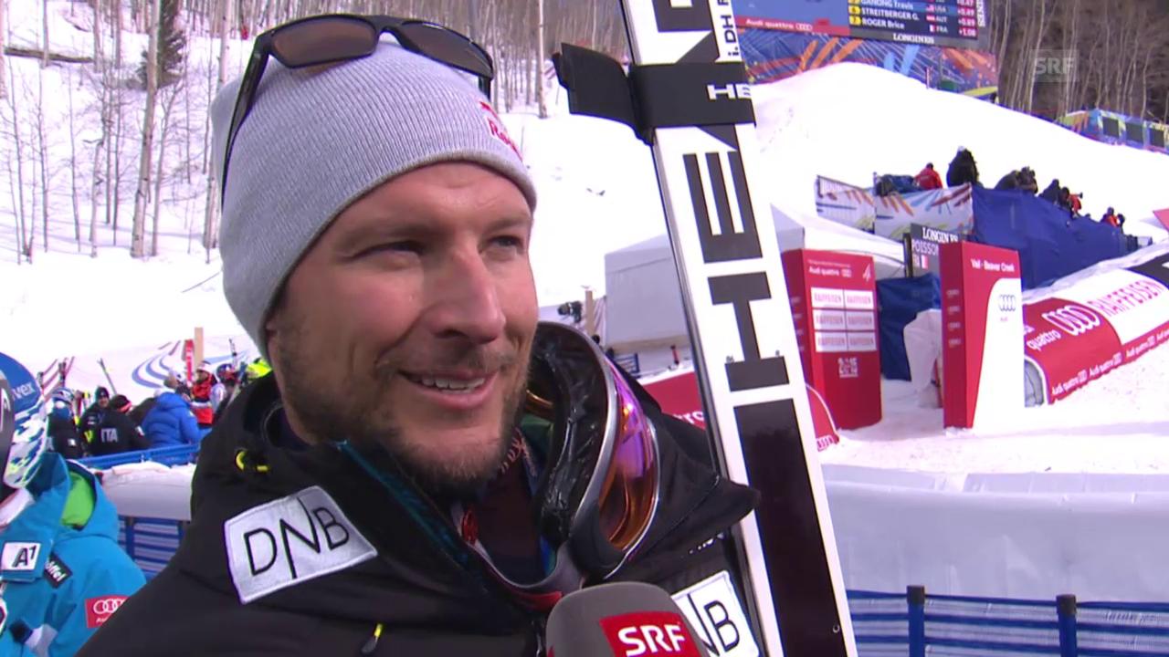 Ski: WM, Aksel Svindal Interview nach 1. Training Abfahrt