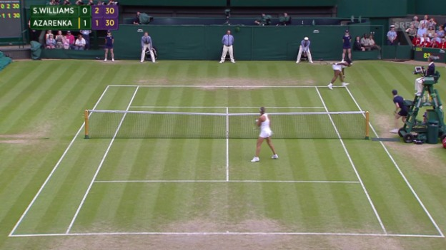 Video «Tennis: Wimbledon 2015, Viertelfinal S. Williams - Asarenka, Gelächter Publikum» abspielen