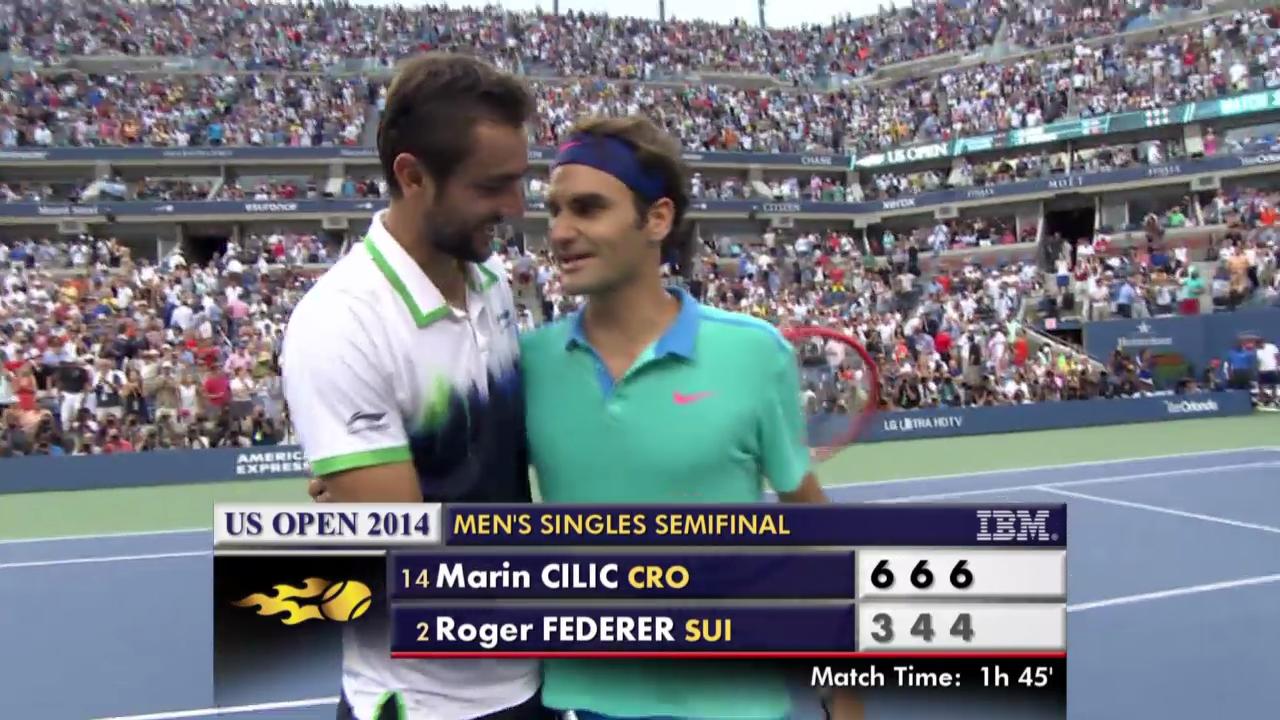 Tennis: US Open, Federer - Cilic, entscheidende Ballwechsel