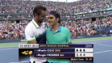 Video «Tennis: US Open, Federer - Cilic, entscheidende Ballwechsel» abspielen