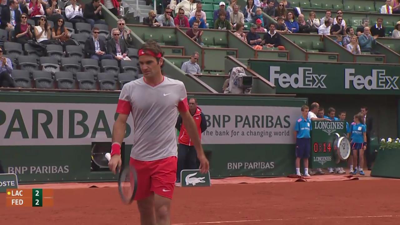 Tennis: French Open, 1. Runde, Federer - Lacko, entscheidene Ballwechsel