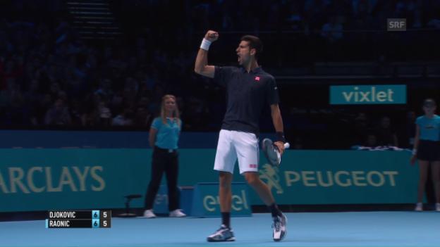 Video «Djokovic gewinnt packendes Duell gegen Raonic» abspielen